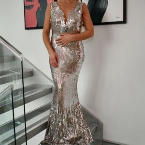 BELLA SIlver Sequin Dress